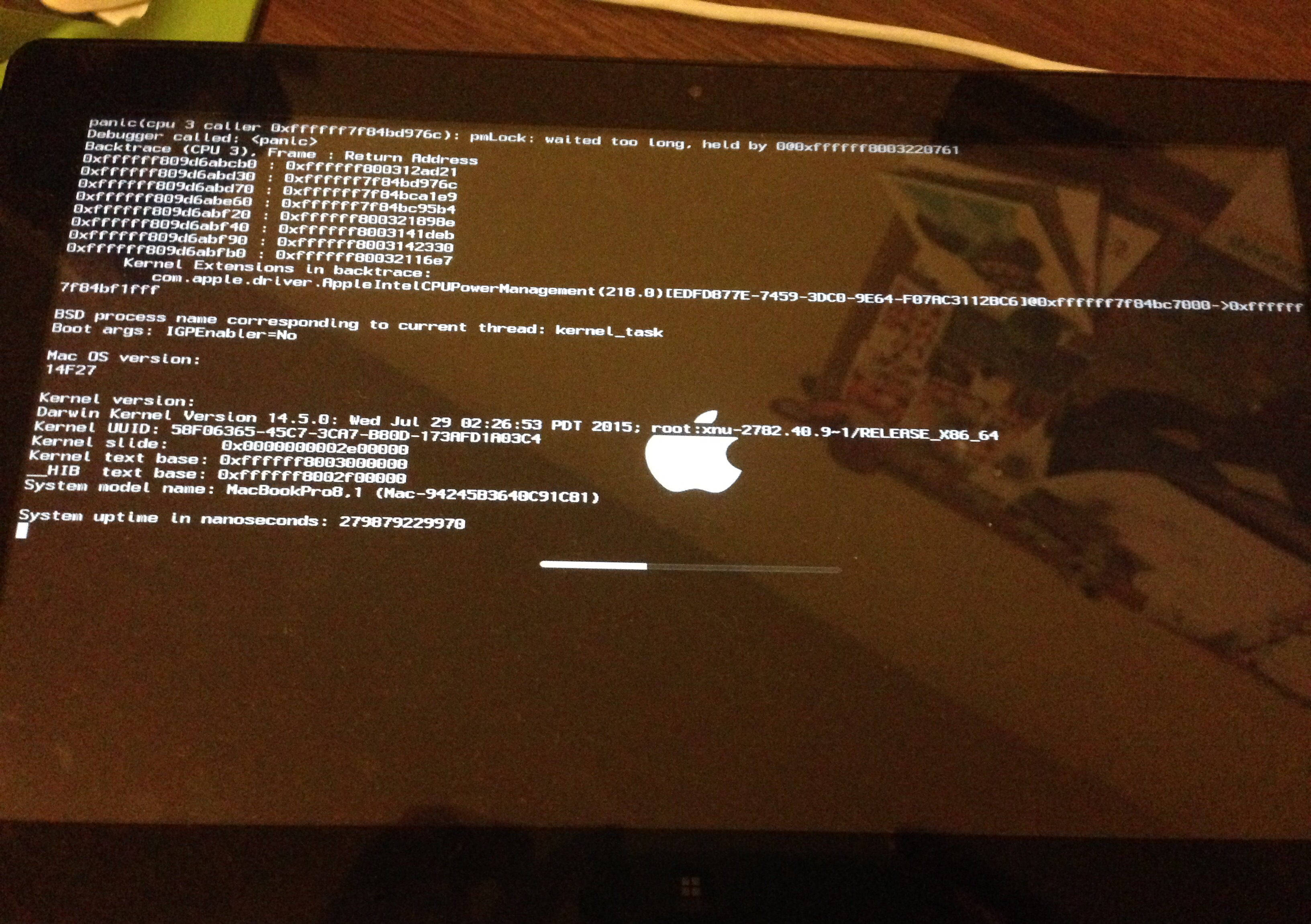 Trying to install Yosemite but being plagued by kernel panic