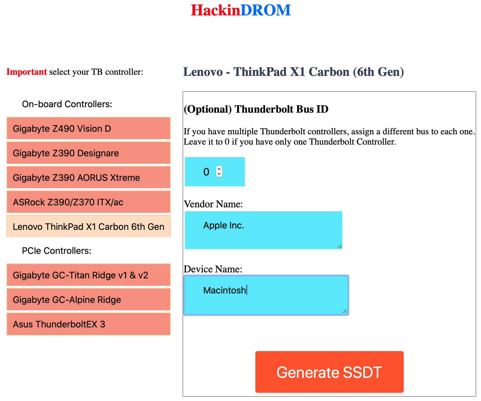 HackinDROM  Lenovo ThinkPad X1 Carbon 6 Gen.png