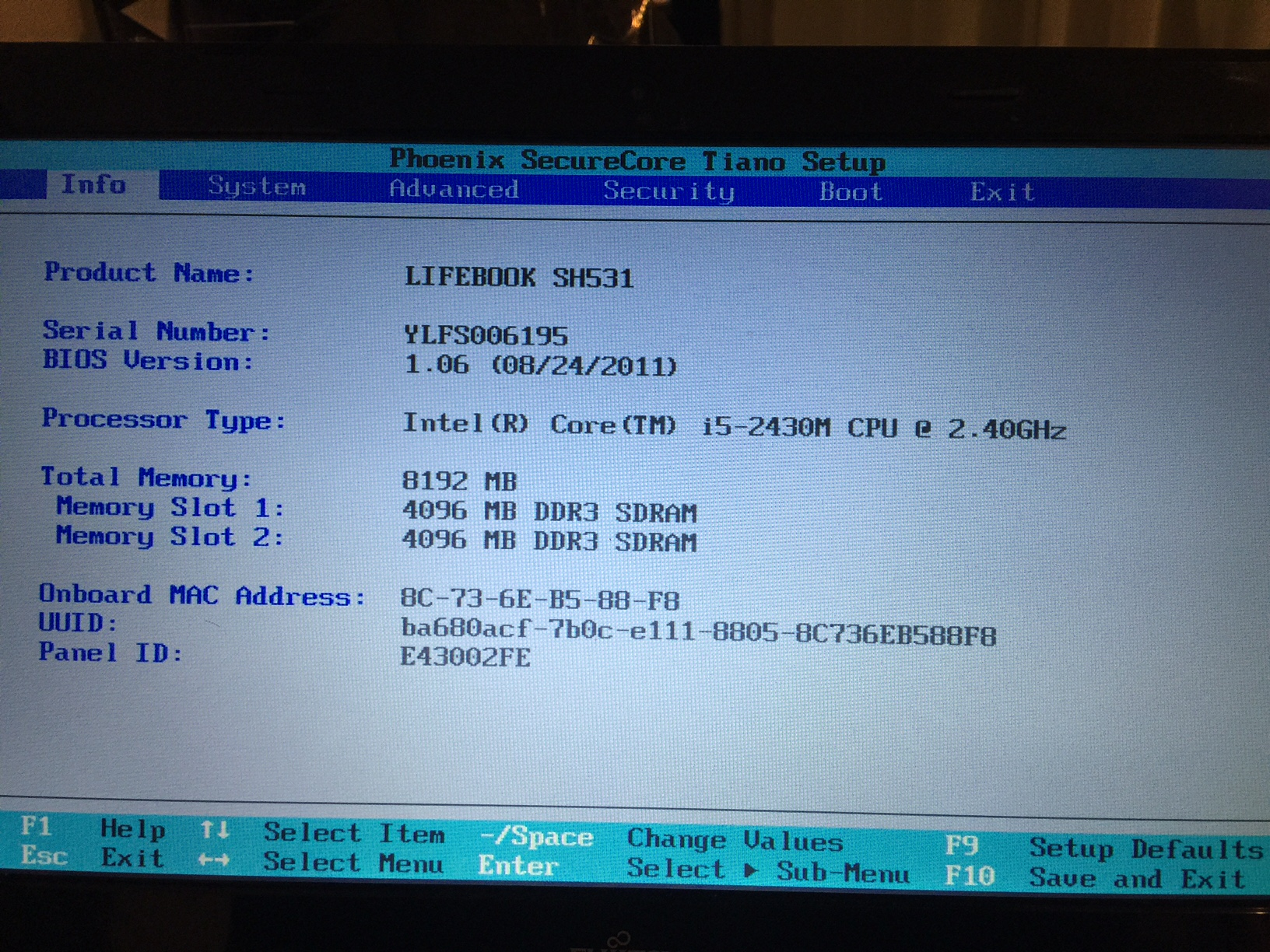 Yosemite on Fujitsu SH531, installs but only boots from USB