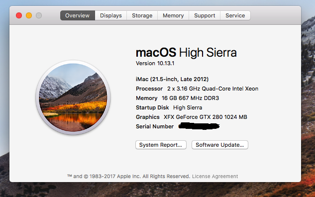 High Sierra works great on old Dell T5400, 2xXeon x5460's