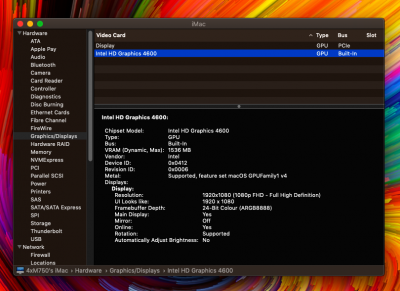 solved] Intel HD Graphics 4600 not working - Mojave | tonymacx86 com