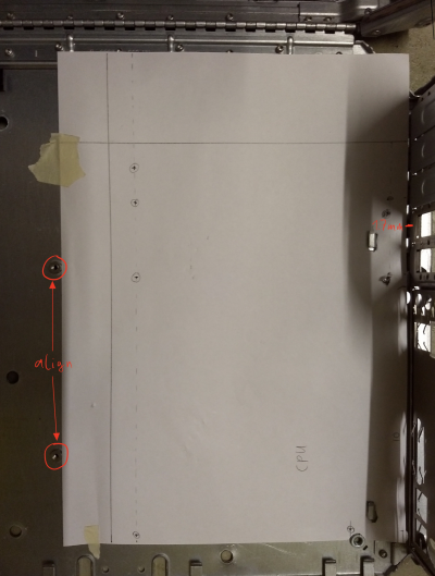 drilling template in place