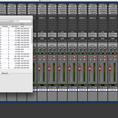 CPU use recording in Pro Tools 11 42 mono tracks with effects processor plug-ins inserted on all channels at 44.1kHz/24-bit.