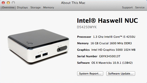 Install Guide : Intel Haswell NUC Core i5 (D54250WYK) V1